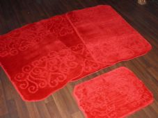ROMANY WASHABLES NEW FOR 2017/18 SUPER THICK DESIGN 4PC SET RED NON SLIP MATS